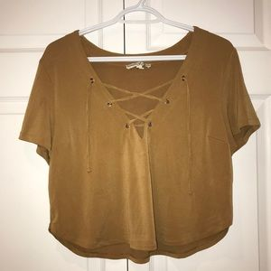 Express Tan Lace Up Front Blouse T-shirt
